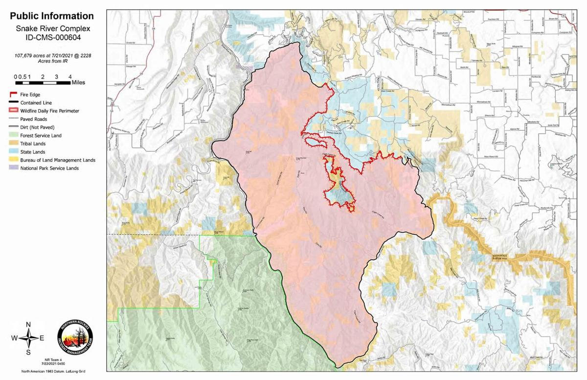 Snake River Complex Fire Map 7.25.21