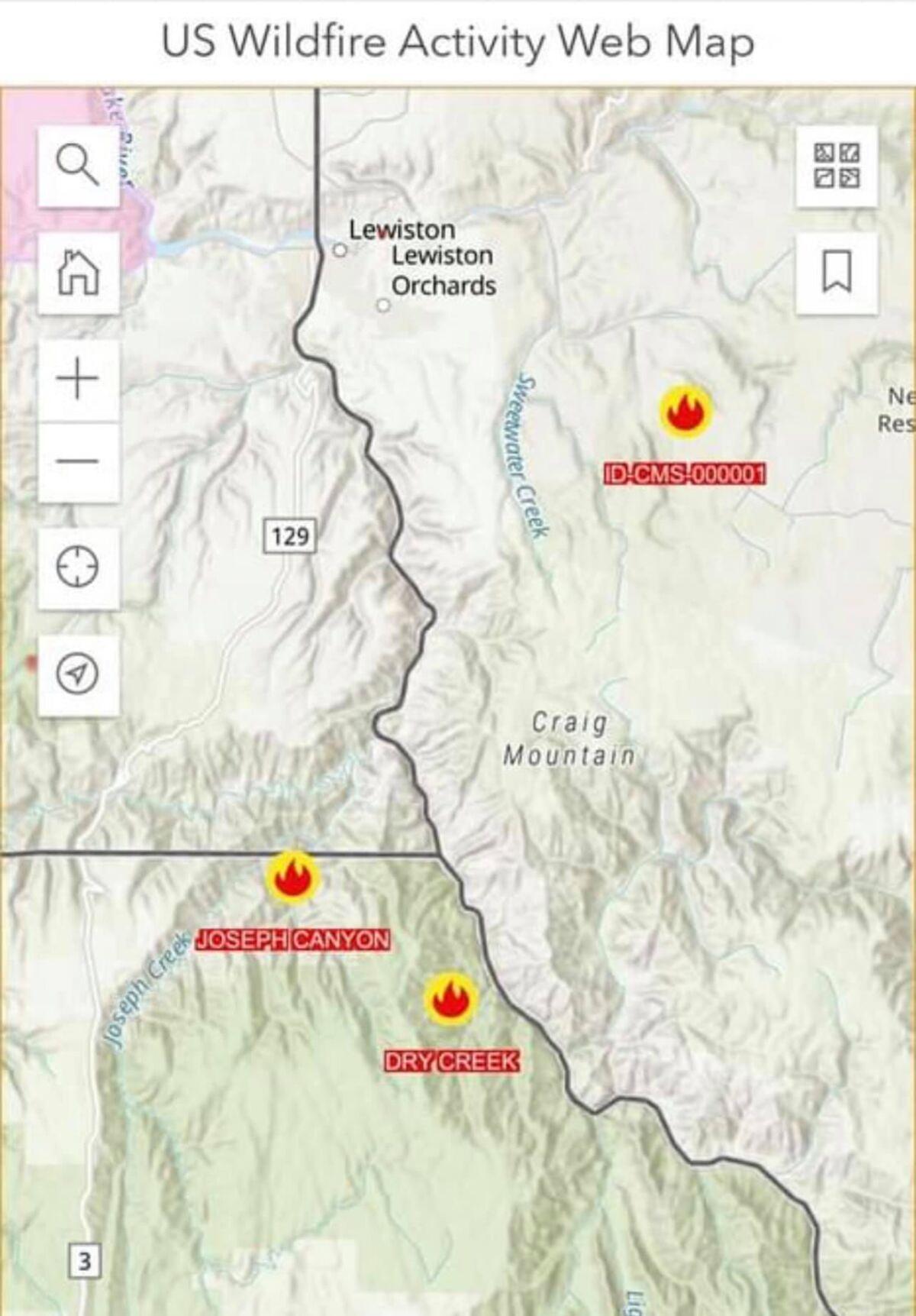 Oregon/Idaho Fire Locations 6/4/21