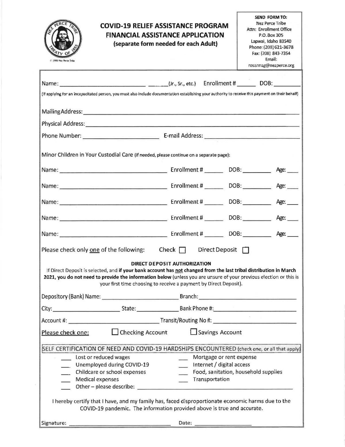 NPT American Rescue Act Application