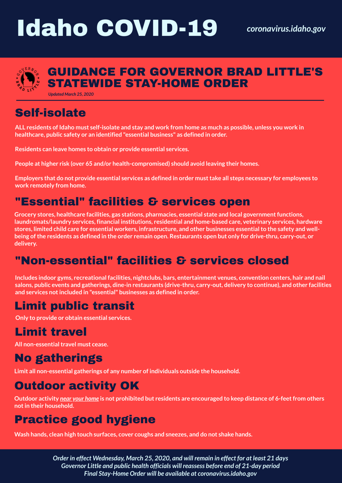 Idaho Stay Home Order Poster