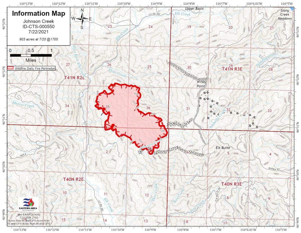 Johnson Creek Fire Map 7.22.21