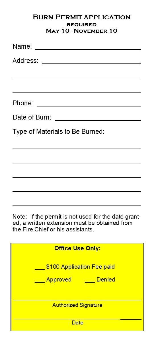 Grangeville Burn Permit Application