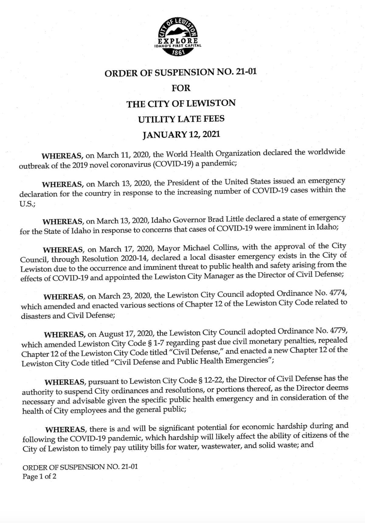 Lewiston Utility Bill Order