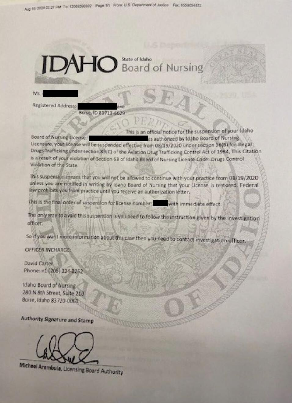 Scam Letter Targeting Idaho Nurses