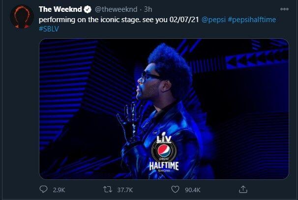The Weeknd SuperBowl Tweet