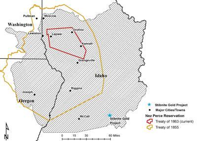 Nez Perce Reservation Map showing Stibnite Gold Mine