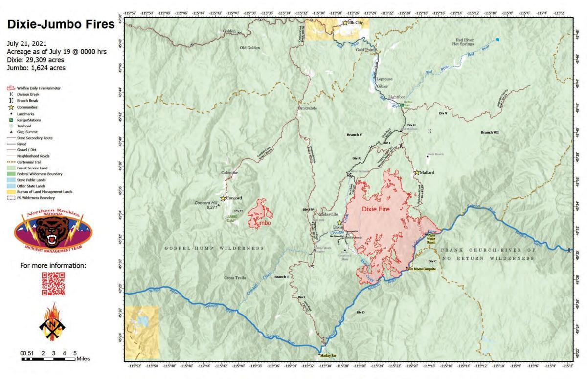 Dixie/Jumbo Fire Map 7.21.21