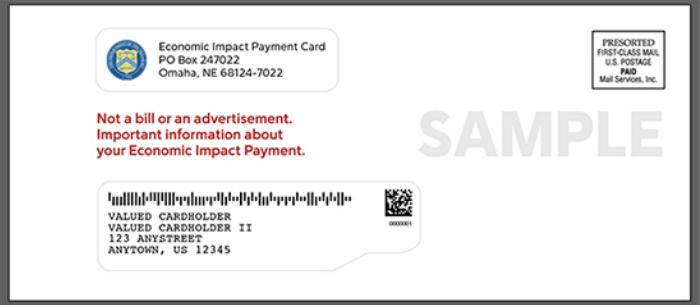 Stimulus Debit Card Envelope