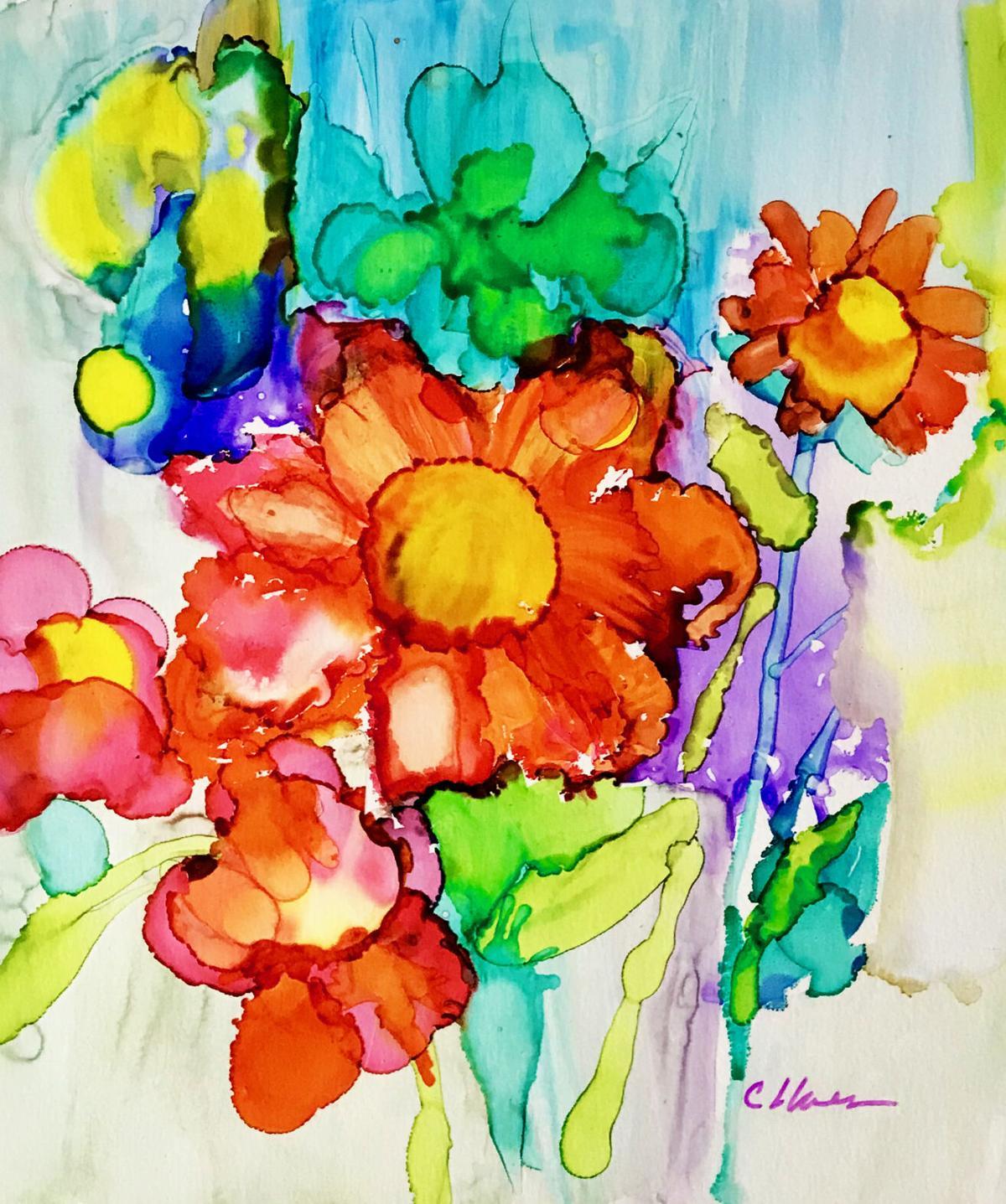 CYNTHIA LLANES Flower Gathering 11x14 Alcohol Ink.jpg