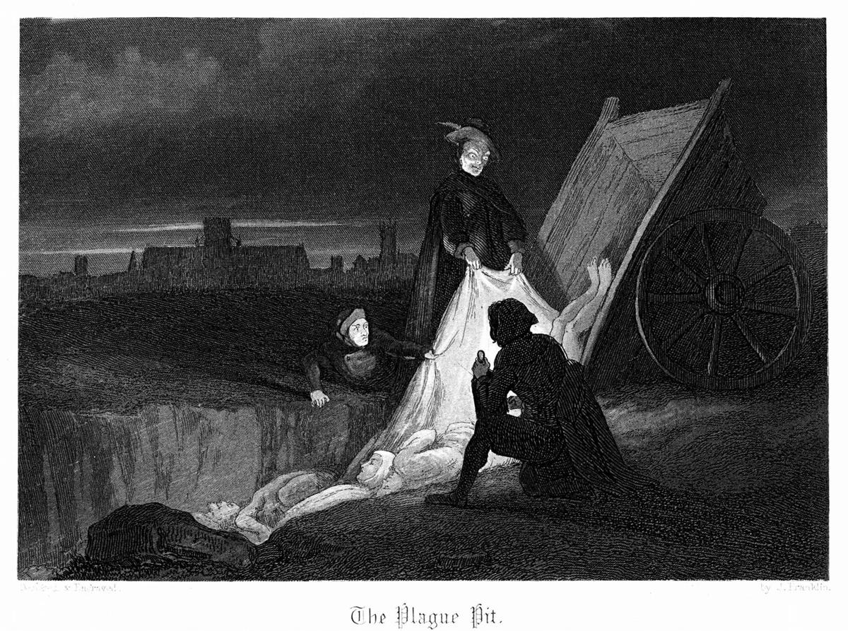 Mass burial during the plague in London