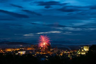 Fireworks on the 4th of July over Asheville, NC