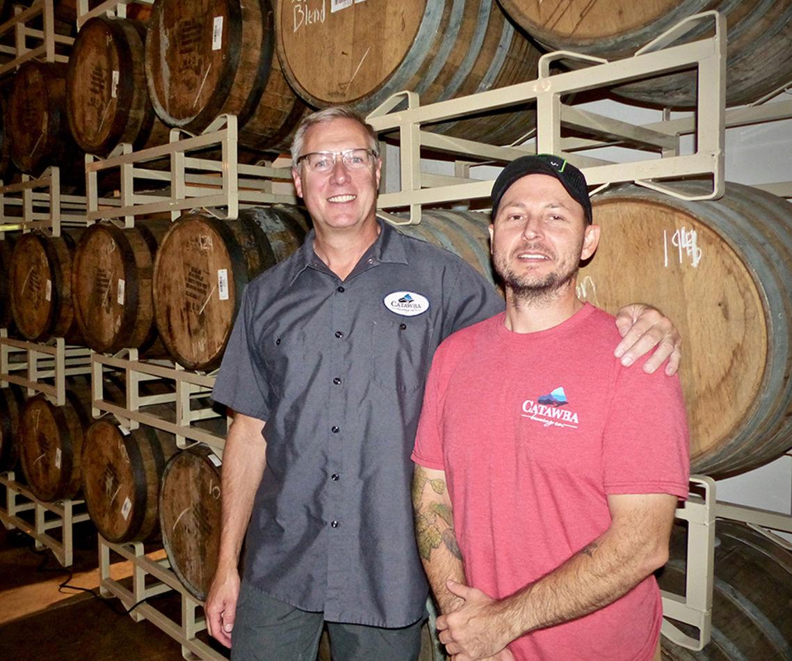 Catawba Brewing co-oner Billy Pyatt with Dave Cobb, Catawba Charlotte head brewer