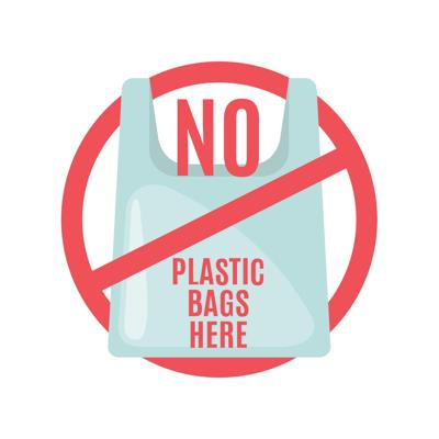 Say no to plastic bag icon in flat style.