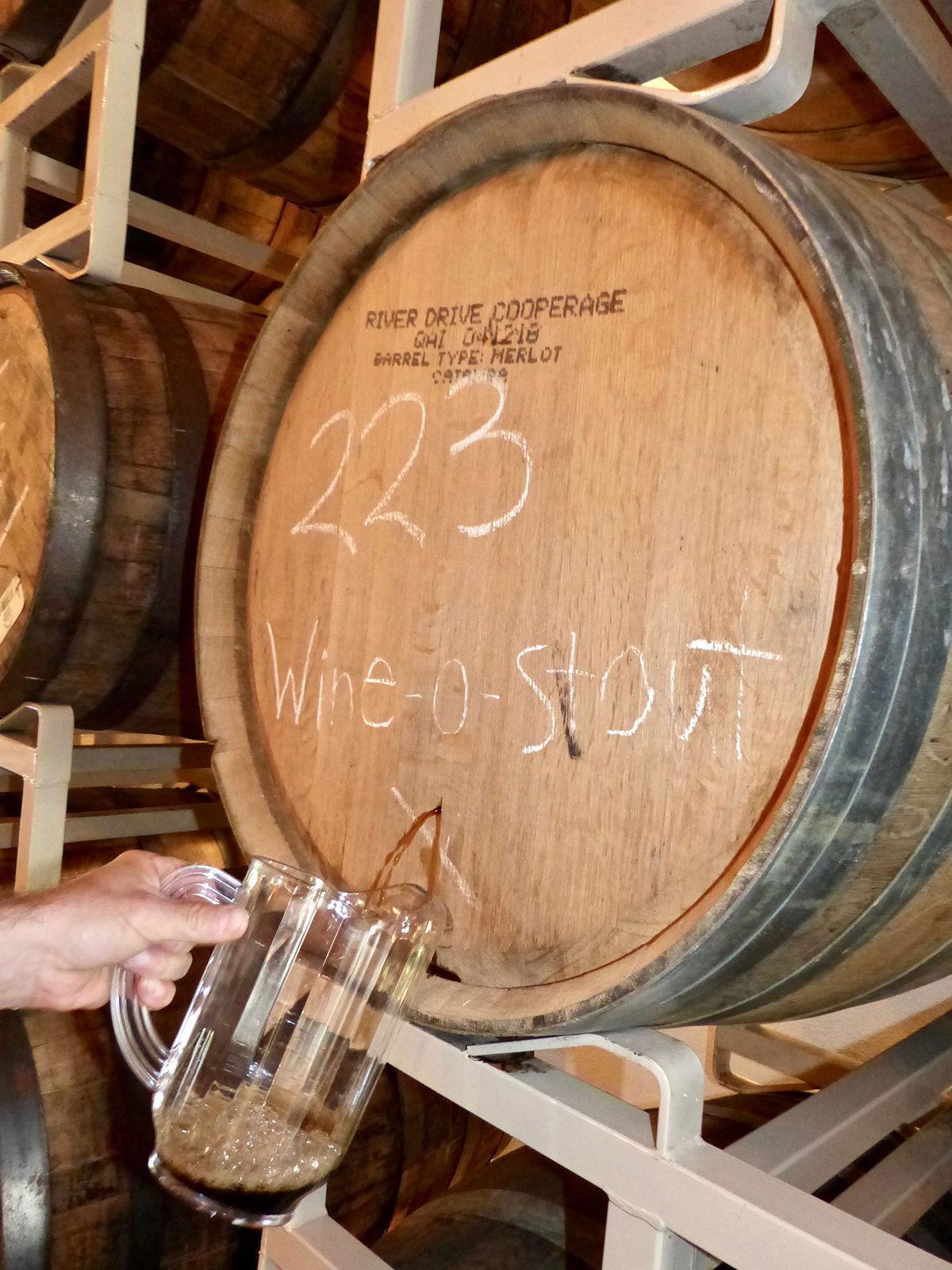 Testing on Catawba's 'Wine-O-Stout,' aged in merlot barrels