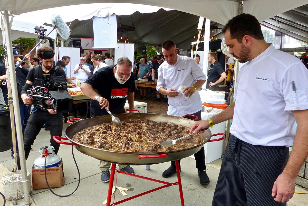 José Andrés supervising ox tails for  Chow Chow paella