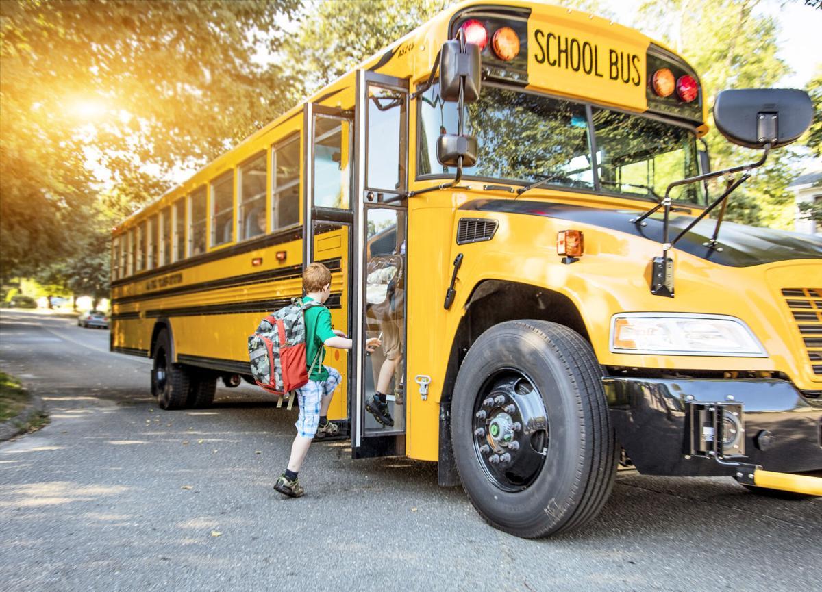 Student on school bus