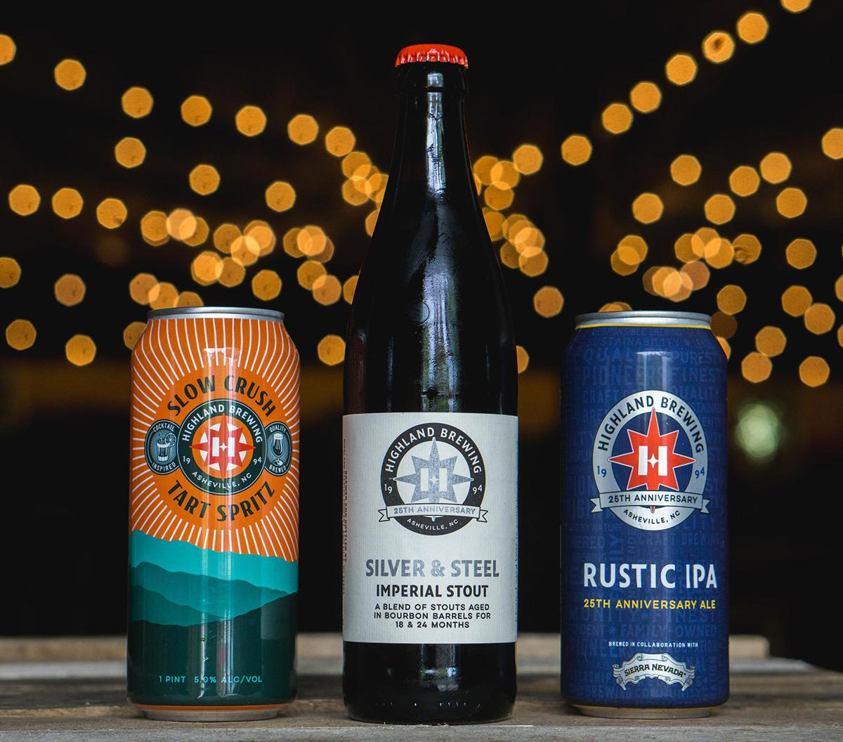 Highland's 25th anniversary releases Slow Crush Tart Spritz; Silver & Steel Imperial Stout aged in Bourbon barrels; and Rustic IPA