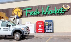 New KJ's Fresh Market sign installed at former Chetek Gordy's Market