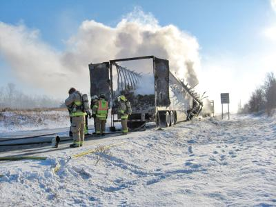Fire Destroys Truck Hauling Mail