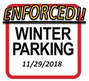 Enforcement Begins on Winter Parking Restrictions