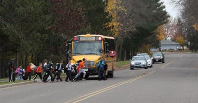 School Bus Drops Off Students In Bloomer