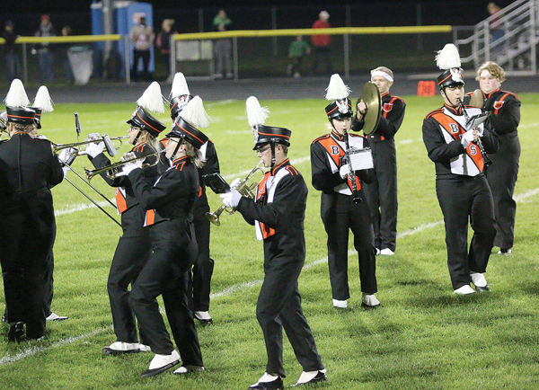 Bloomer Blackhawks Marching Band Performs At Halftime
