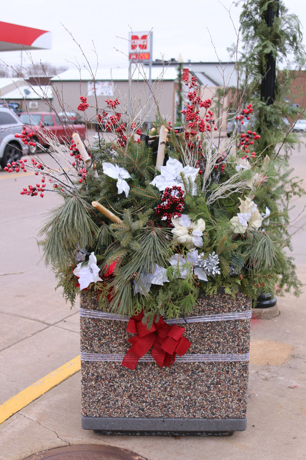First Place Winning Christmas Planters on Main Street