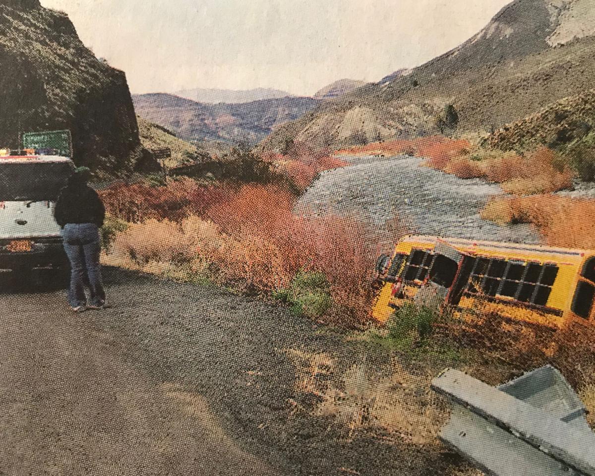 Dayville bus runs into gorge