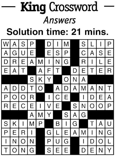 Crossword answers 1/18