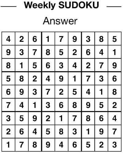 Sudoku answers 1/25