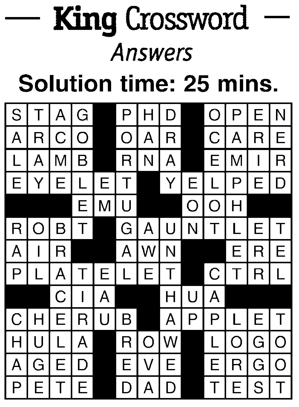 Crossword Puzzle Answers August 31 2017