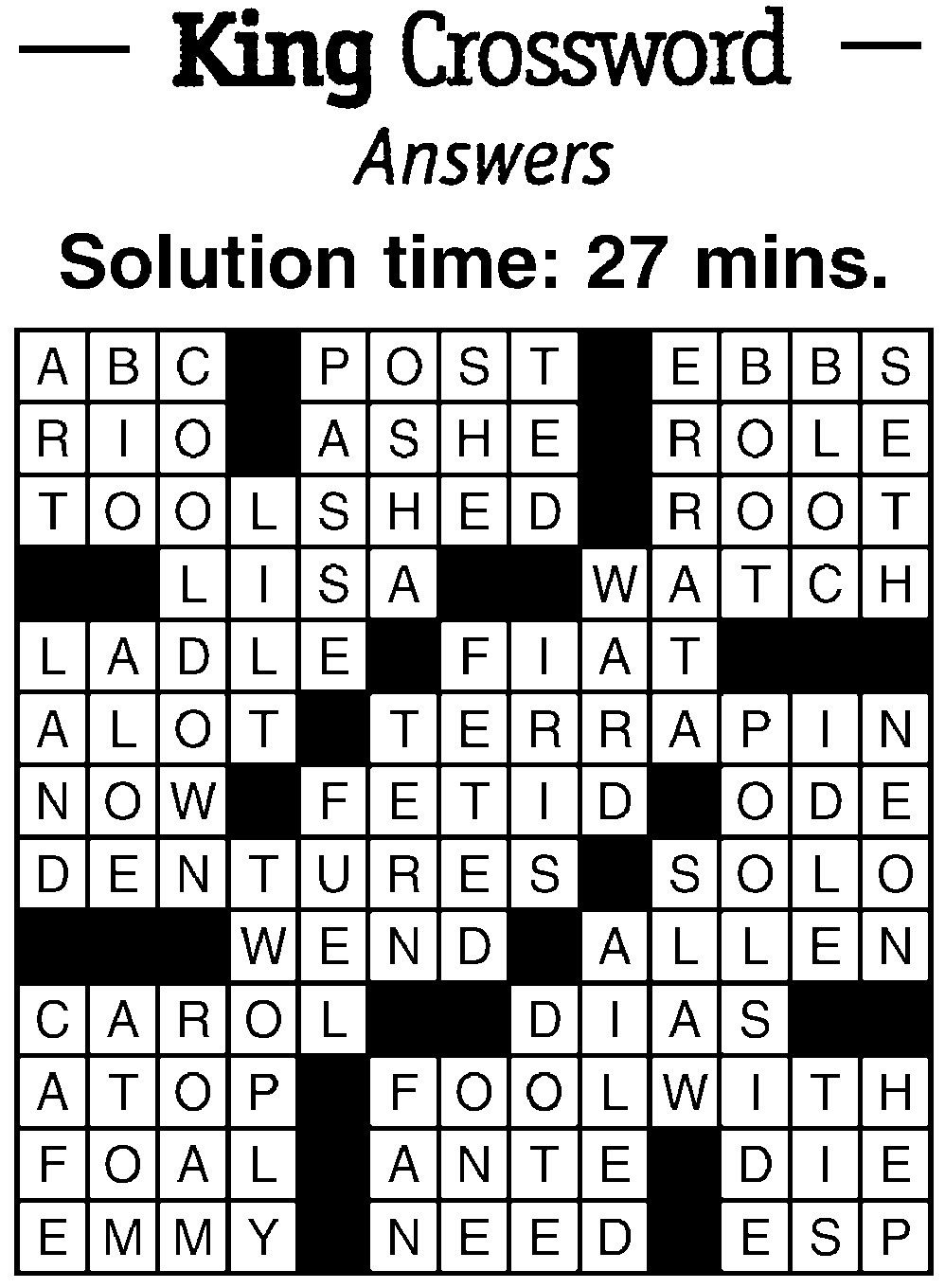 Crossword Answers 3 22