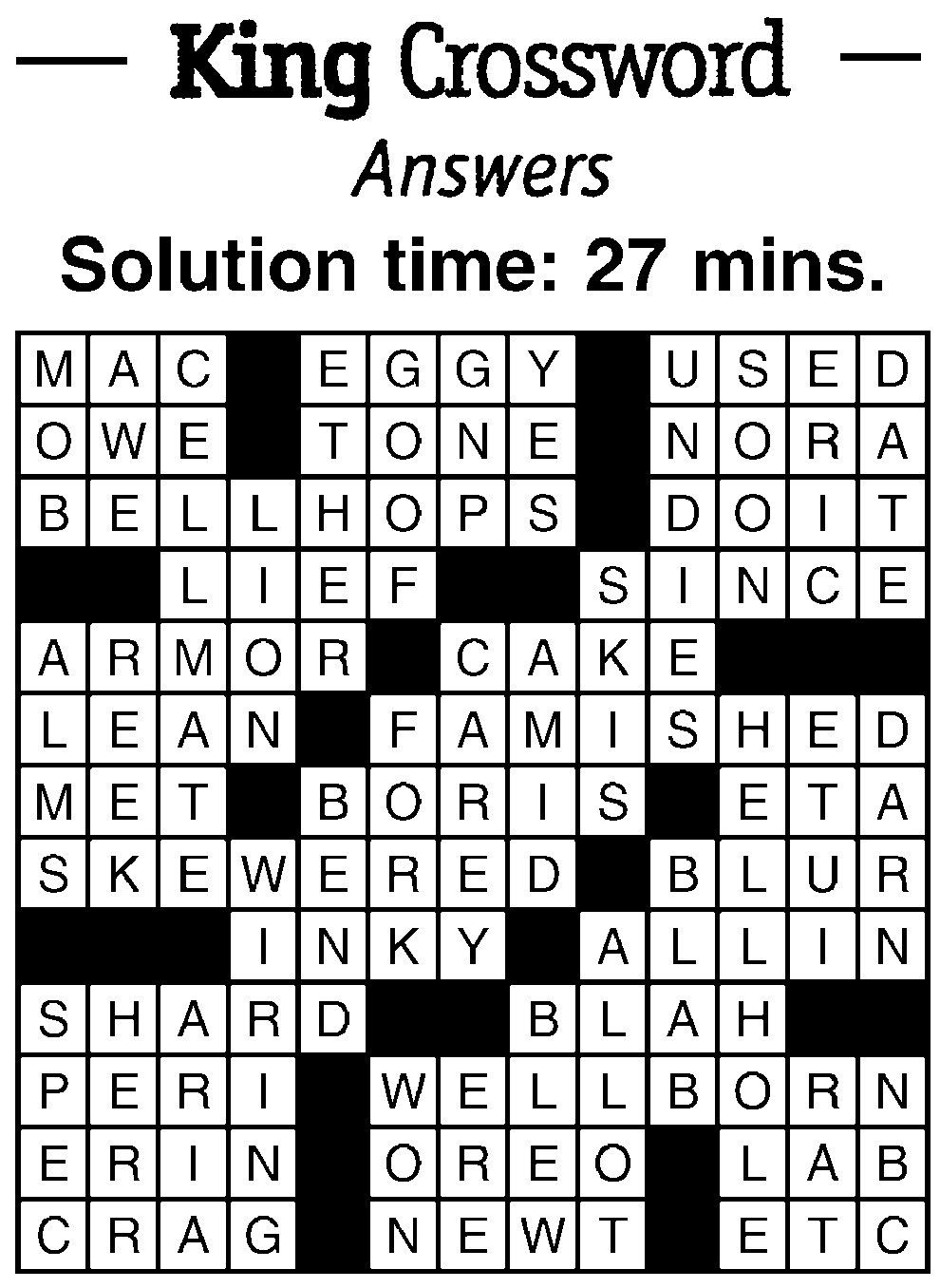 Crossword Answers   breezejmu org
