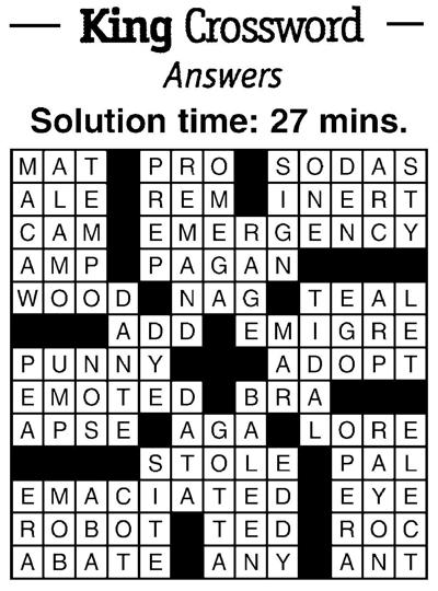 Crossword answers 1/11