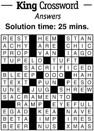 Crossword answers 3/15