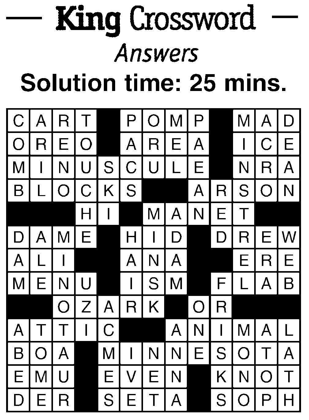Crossword Answers | breezejmu org