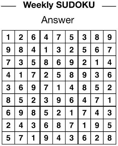 Sudoku answers 1/11