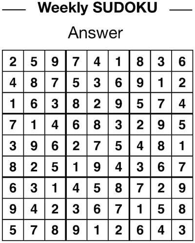 Sudoku answers 1/18