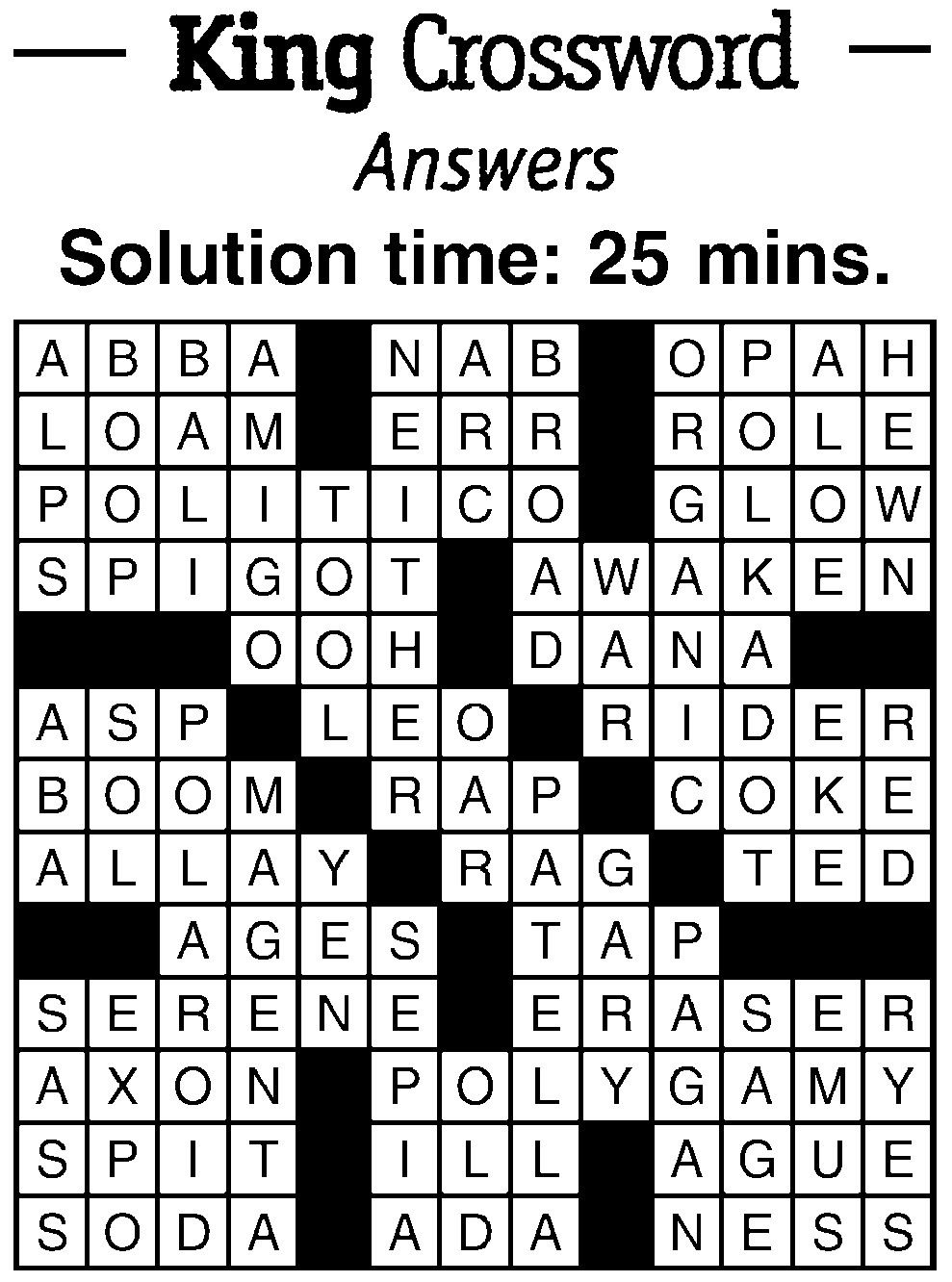Crossword Answers 1 25