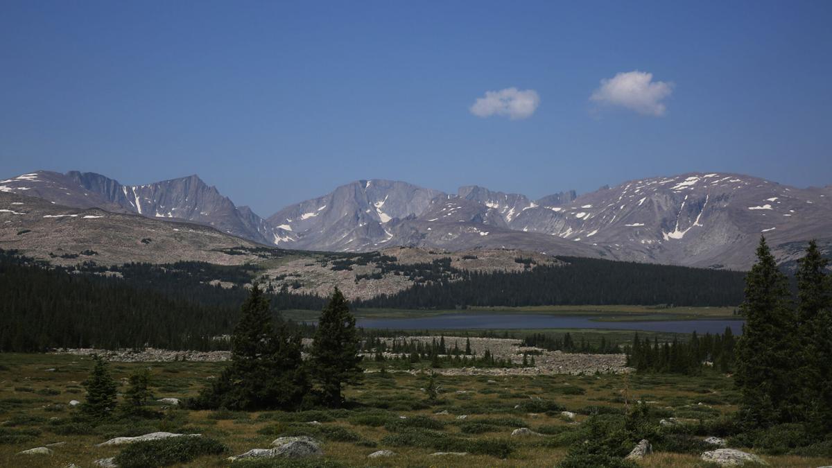 Bomber Mountain, left, and Cloud Peak, center, overlook Cloud Peak Lake