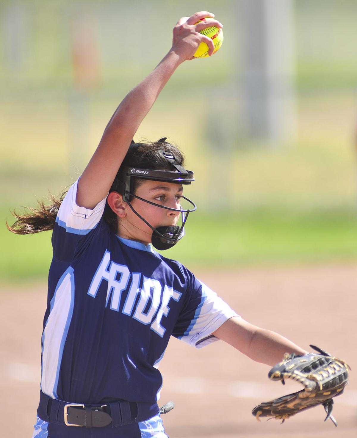 Buffalo pitcher Bethany Gallegos winds up for her first pitch of the inning