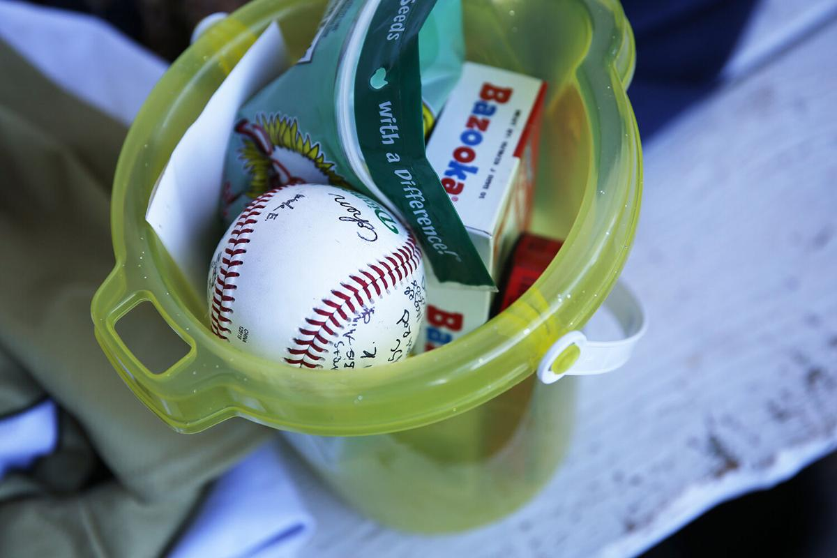 Olie Wagner was given a basket of baseball goods
