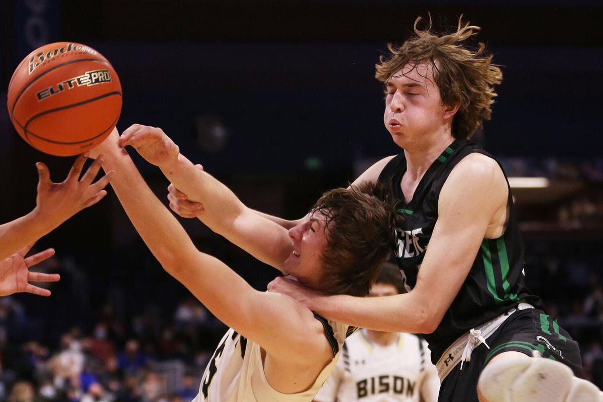 Hunter Stone fights to recover the rebound
