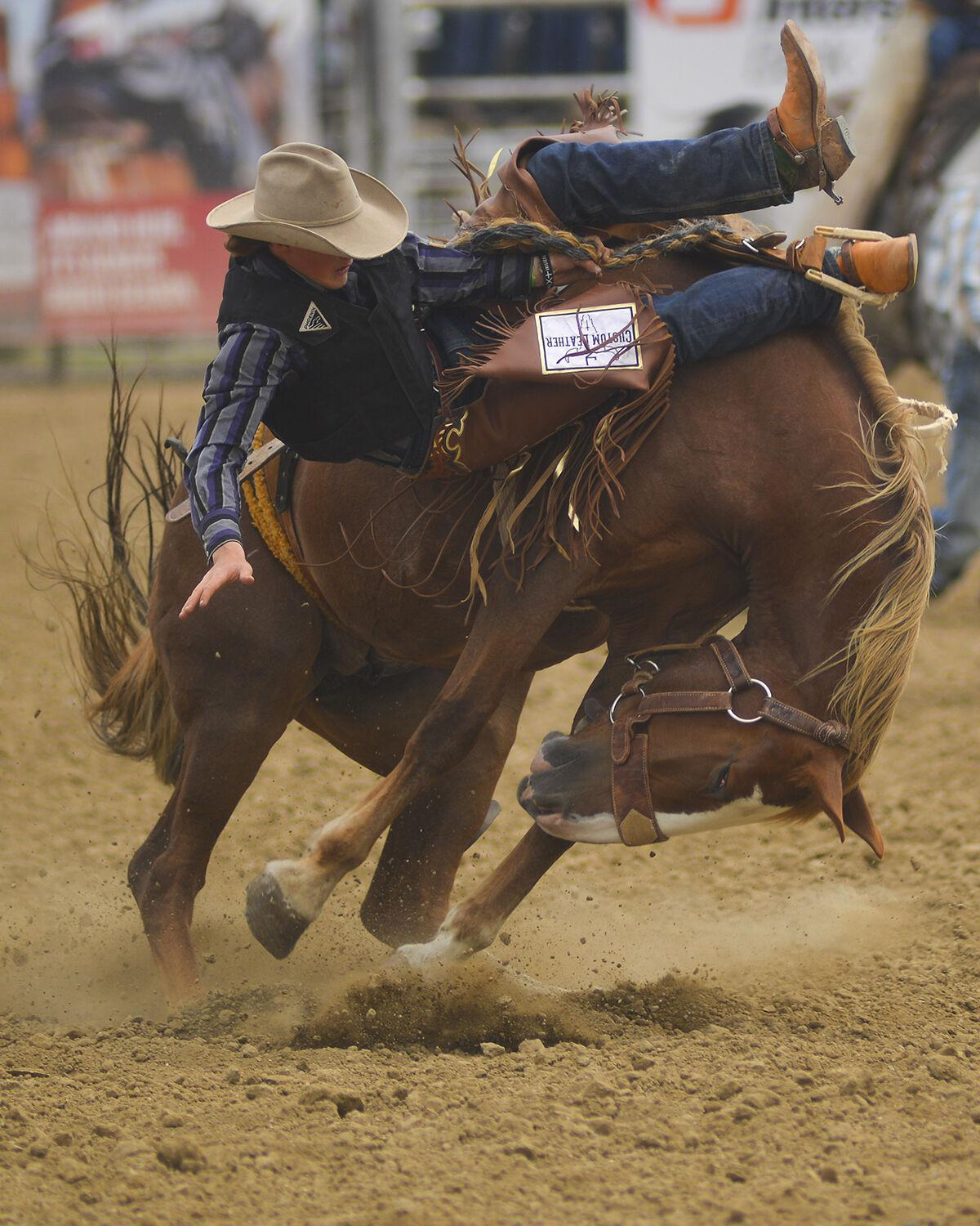 Norris Graves looks down as he begins falling while his horse curls