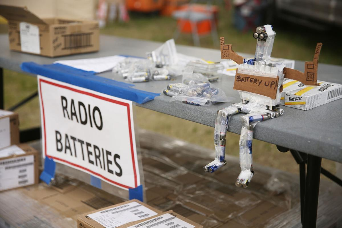 A palette of batteries is set up next to the lunch station