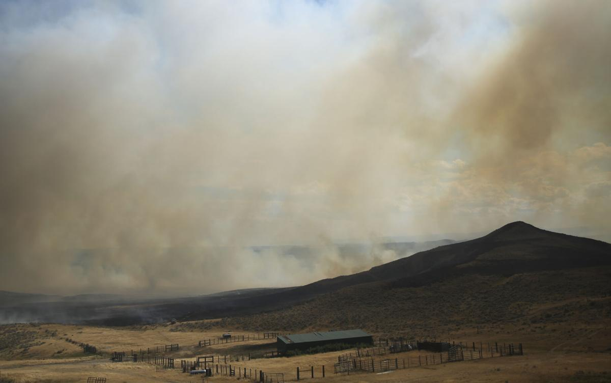 A fire burned southeast of Ucross on a combination of public and private lands