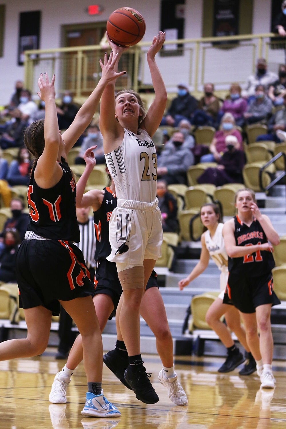 Ava Wagner jumps for two during the first quarter