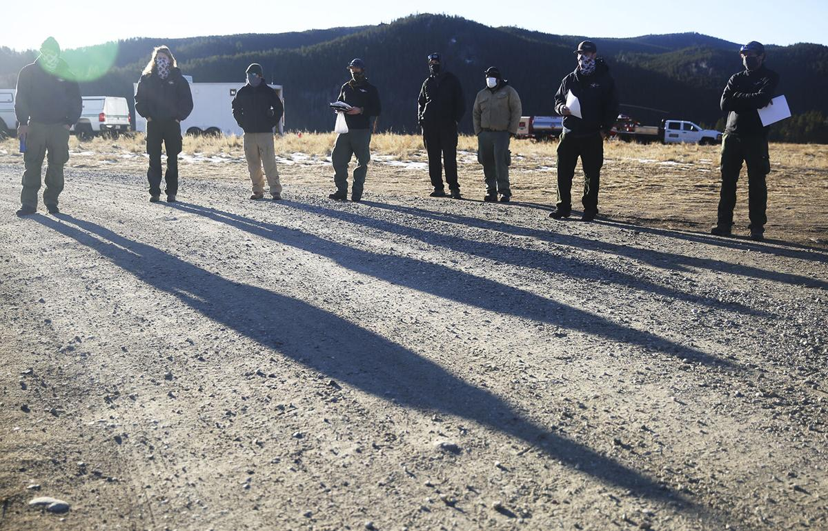 Forest Service employees and visiting helicopter crews
