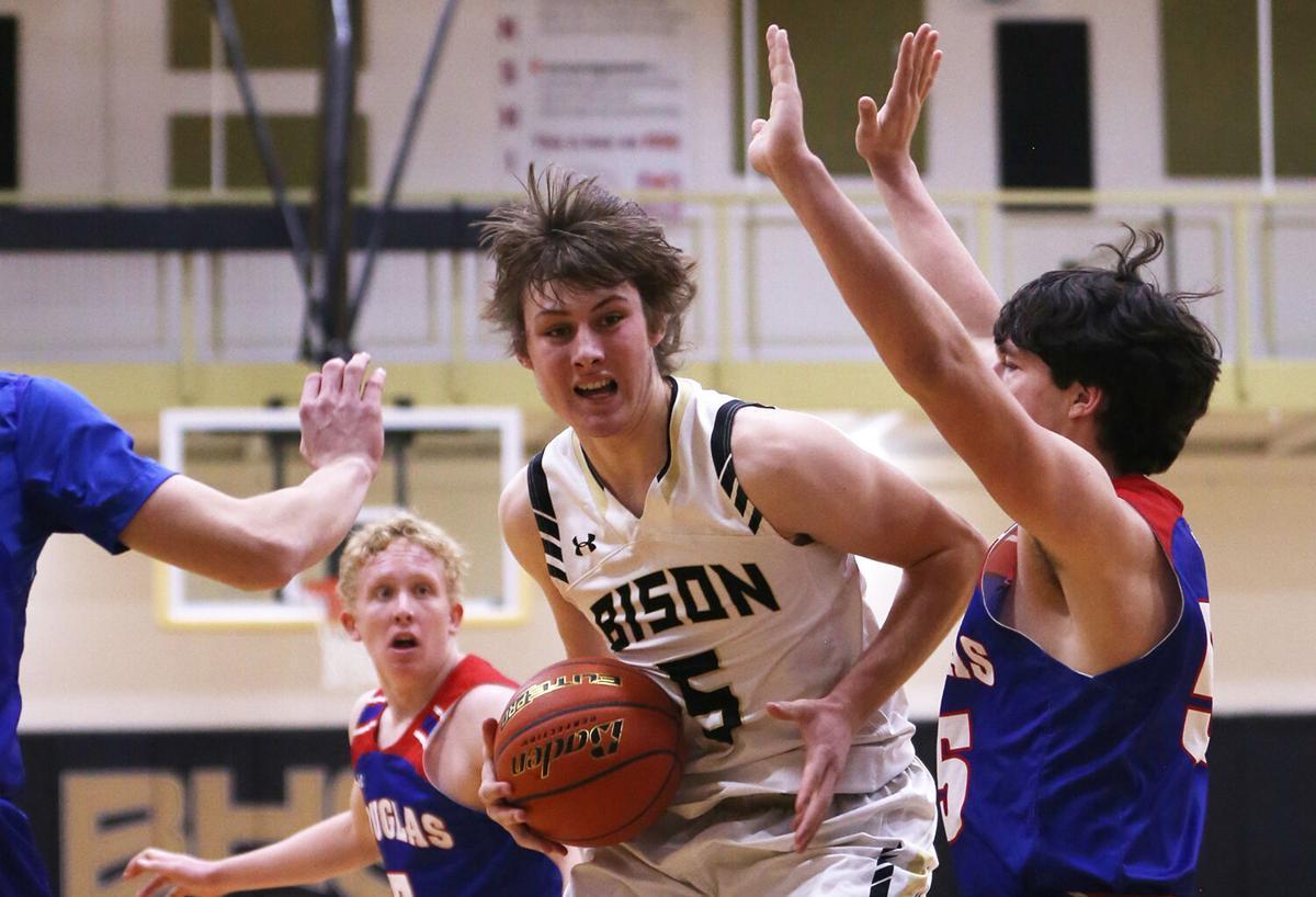 Hunter Stone pushes toward the basket
