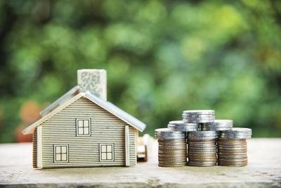 Coin,Stack,With,House,Model,,Savings,Plans,For,Housing,,green